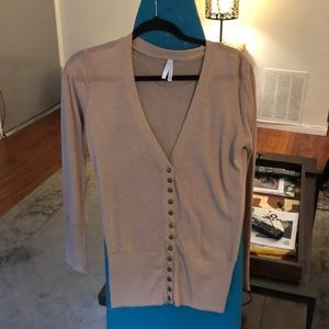 Color Story Sweaters - Tan Sz L Button Up Color Story Cardigan